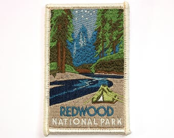 Official Redwood National and State Parks Sourvenir Patch - Redwoods & California Park Iron-on FREE SHIPPING Scrapbooking