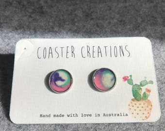 Purple white mint and pink resin studs