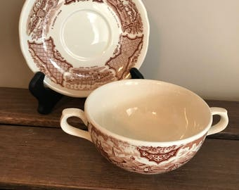 Alfred Meakin Fair Winds Canton Port Cream Soup Bowl and Saucer/Stand - Historical Scene Of Chinese Export To America - Brown and White