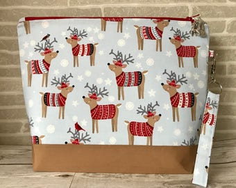 Ewe: Festive Forest - Medium sized project bag for Knitting/Crochet