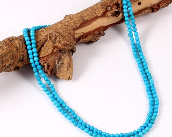 Amazing Rear Necklace Of Turquoise Gemstone From Chinese Balls Beads Necklace 16 Inches Size 4 M.M. 94.00 Cts. MGJ 209