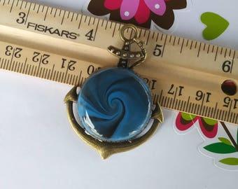 Polymer Clay Blue, swirl, Anchor Pendant/keycharm