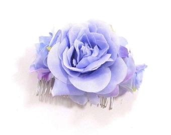 Lilac Light Purple Blue Rose Flower Hair Comb Bridesmaid Clip Floral Vtg 3048