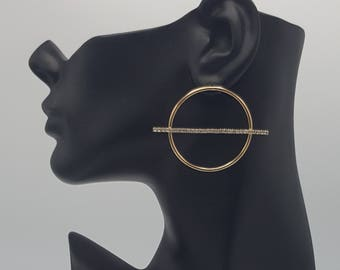 Gold and Crystal Hoop earring