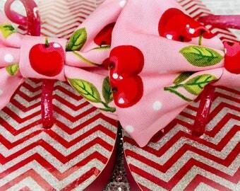 Cherry Pink Bow Flip Flops