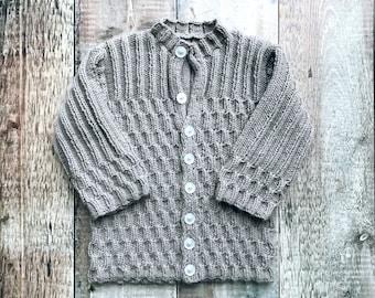 Handmade Baby Cardigan – Knitted kids present - honeycomb toddler sweater - baby shower gift