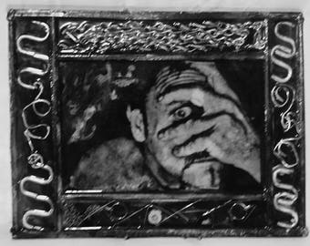 "horror suspense ""Bump In The  Night "" dark photo noir assemblage epoxy framed picture scary steel wire needle afraid"