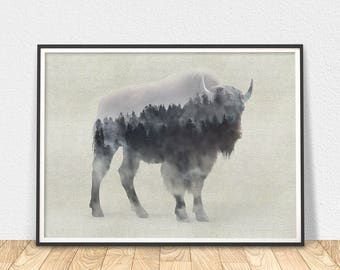 Bison Wall Art - Printable Poster, Digital Art, Animal Poster, Foggy Forest, Nature Printable, Forest Animal, Silhouette Print, Bison Print