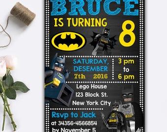 Lego Batman Invitations/ Lego Batman/ Lego Batman Birthday/ Lego Batman Party/ Lego Batman Birthday/ Lego Batman Printable