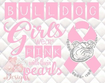 Bulldog Mascot 1 Pink and Pearls - Breast Cancer Awareness - SVG, Silhouette studio and png bundle