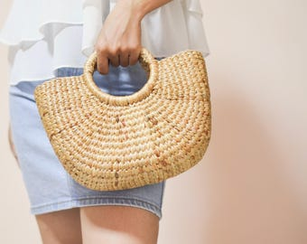 Straw bag Weaving seagrass top handle bag, handmade bag , boho bag, straw purse from Thailand / size M