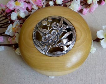 Wooden Potpourri bowl with pewter lid, lovely gift ,rose hips, present, for her, him special occasion