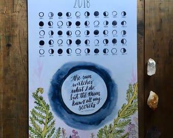 2018 Lunar Calendar Moon Calendar Art Print