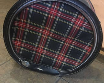 Vintage Plaid Round Luggage