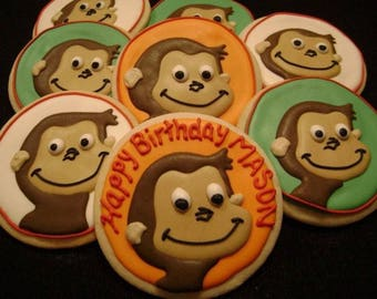Custom Decorated Monkey Cookie Favor for Birthday | Curious George