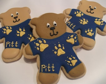 Pitt Pajama Bears |Pittsburgh University Logo Cookie favors | Pitt Panthers | College mascot| Teddy Bear cookies