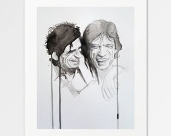 Mick and the Keef - The Rolling Stones - Fine Art Print of original graphite and watercolor illustration
