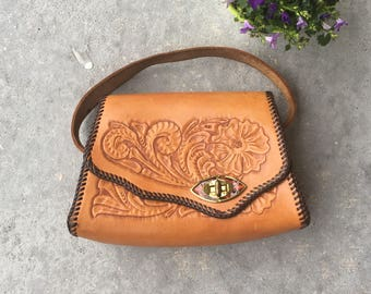 1970's Embossed Leather Purse