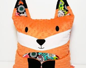 Fox pillow, red fox minky cushion, Hug-Me pillow, multicolor doodle
