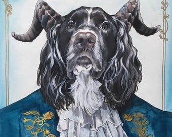 Dog Character Painting-Dog Portraits-Custom Watercolor Pet Portrait-Unique Gift-Pet Portrait-Beauty and the Beast-Disney