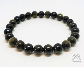 Obsidian bracelet - Golden Rainbow Obsidian - Dragonglass bracelet - Obsidian - Mens bracelet - Unisex bracelet