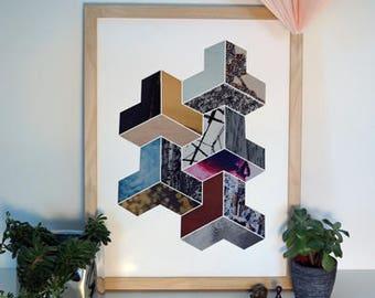 3D Geometric Collage Print