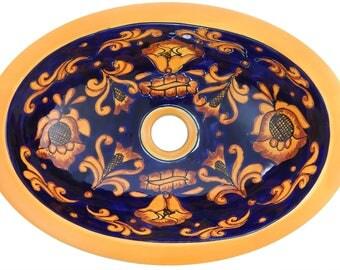Clearance Sale 16 X 11.5u201d Talavera Mexican Sink Hand Painted Drop In Folk  Art