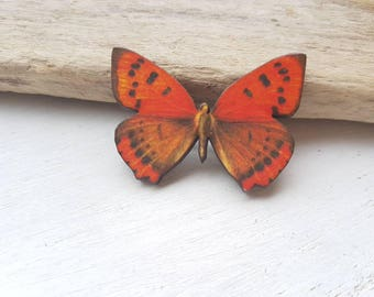Butterfly pin brooch. Vintage butterfly badge. Butterfly pin. Butterfly moth jewellery. Moth butterfly accessory orange butterfly jewellery