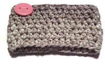 Button Gray Coffee Cup Cozy Crocheted and Ready to ship
