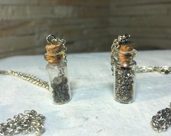 Two steampunk gear bottle necklaces, steampunk pendant, vial pendant, steampunk glass vial, steampunk bottle, steampunk necklace,micro gears