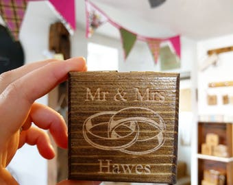 Personalised Rustic Couples Ring Box
