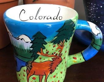 COLORADO MUG vintage retro hand painted scenery nature ram black bear moose mountains landscape cute cup rockies rocky mountains animals