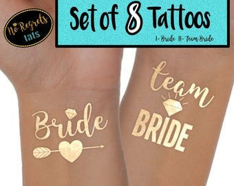 Team Bride Tattoo Set of 8 / Bachelorette party favors / Bachelorette tattoo / Gold foil tattoo / Bride tribe tattoos