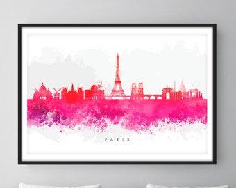 Paris Skyline, Paris France Cityscape Art Print, Wall Art, Watercolor, Watercolour Art Decor
