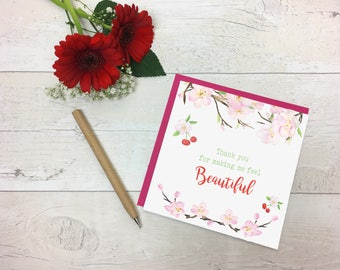 Thank You for making me feel beautiful - Thank you card - Thank you wedding card - Thank you makeup artist - Thank you hairdresser