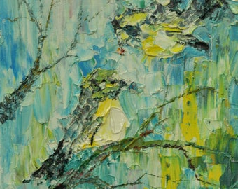 Original oil painting nature painted bird contemporary fine art home living room hall nursery wall interior decor