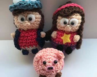 Dipper and Mable Pines with Waddles Amigurumi from Gravity Falls