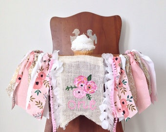 Flower Girl High Chair Banner /  Floral First Birthday Photo Shoot Prop / Blooming Bash Garden Party Theme / Pink / Party Decor