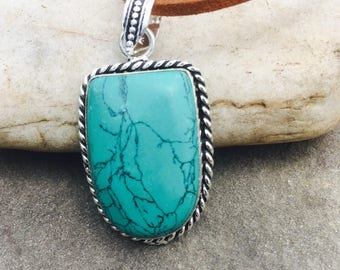 Blue Turquoise Pendant Necklace w/ Brown Faux Suede Cord
