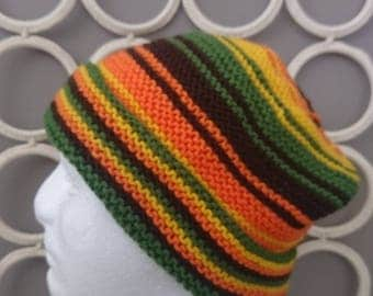 Awesome Boho Hand Knitted Winter Warm Striped Man's Beanie