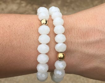 White Crystal w/ Gold Accent Bead