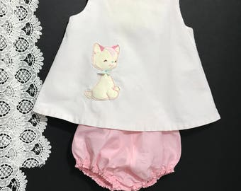 Vintage Baby Swing Top Dress with Kitty appliqué and bloomers