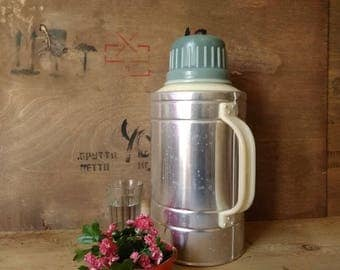 Vintage thermos,new thermos,aluminum thermos for water, thermos of Soviet production in  1980s, thermos for tractor driver, gift for a man.