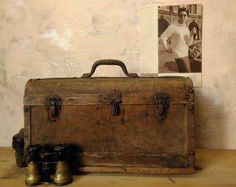Antique wooden large storage box, old wooden trunk, traveler's vintage suitcase,vintage storage box,decor old wardrobe, old valise 1902 year