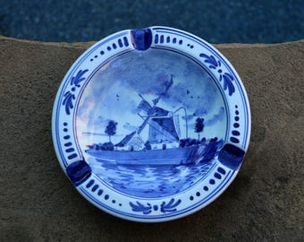 Delft Blue Ceramic Decorative Trinket Tray / Dish - Made in Holland - Holland Gift - Delft Blue Gift - Live in Moment Vintage
