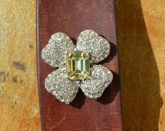 Vintage leather with estate find rhinestone brooch