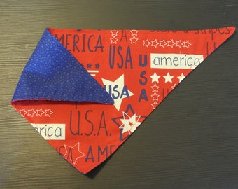 reversible patriotic fabric bandana for dog // puppy // america // USA // polka dot // flag // stars // red white blue // bandanna