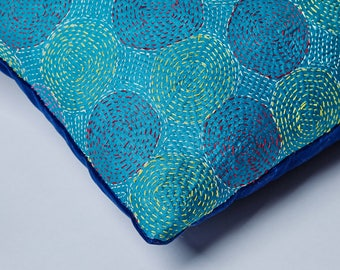 Silk Kantha Cushion with a Rich Blue Velvet Back.
