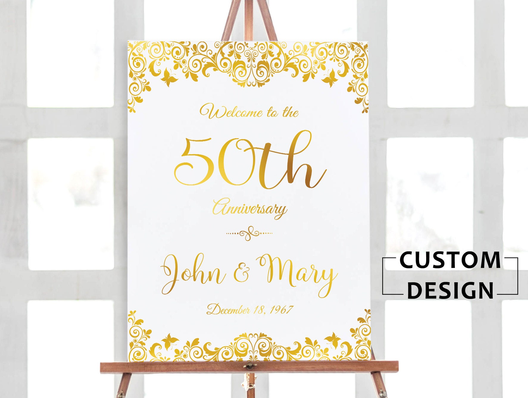 50th anniversary poster, 50th anniversary sign, Anniversary Sign ...