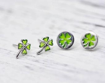 Enamel Four Leaf Clover Sterling Silver Stud Earrings